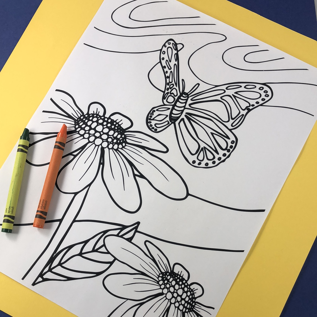 Monarch Garden Coloring Page Download - Tree Planted with Purchase, Artisan Goods handmade by Beth Millner Jewelry