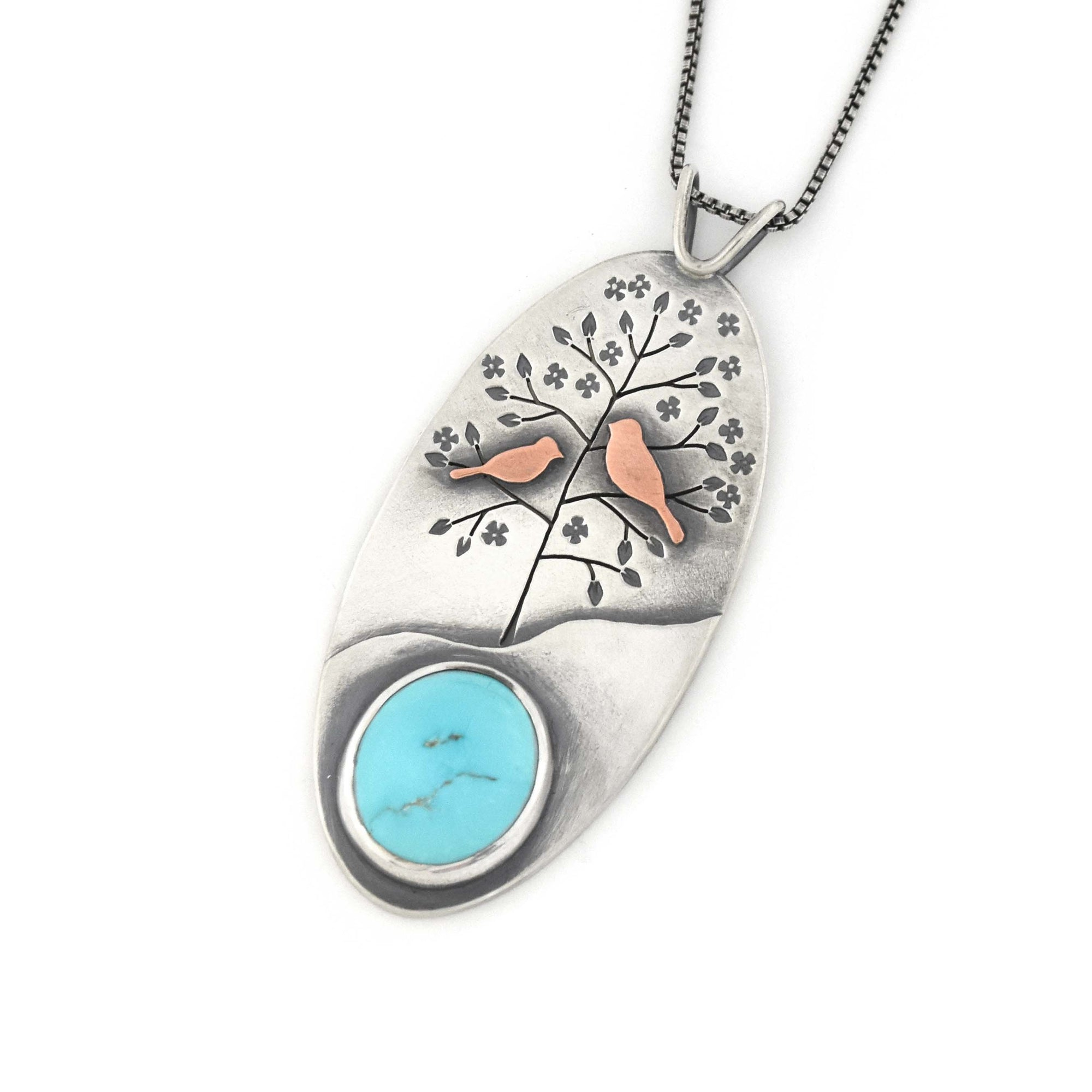 Nesting Spring Robins Turquoise Wonderland Pendant, Mixed Metal Pendant handmade by Beth Millner Jewelry