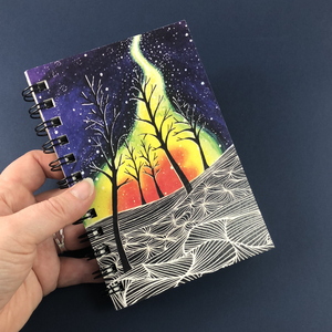 Northern Lights Forest Hemp Sketchbook - Tree Planted with Purchase, Artisan Goods handmade by Beth Millner Jewelry