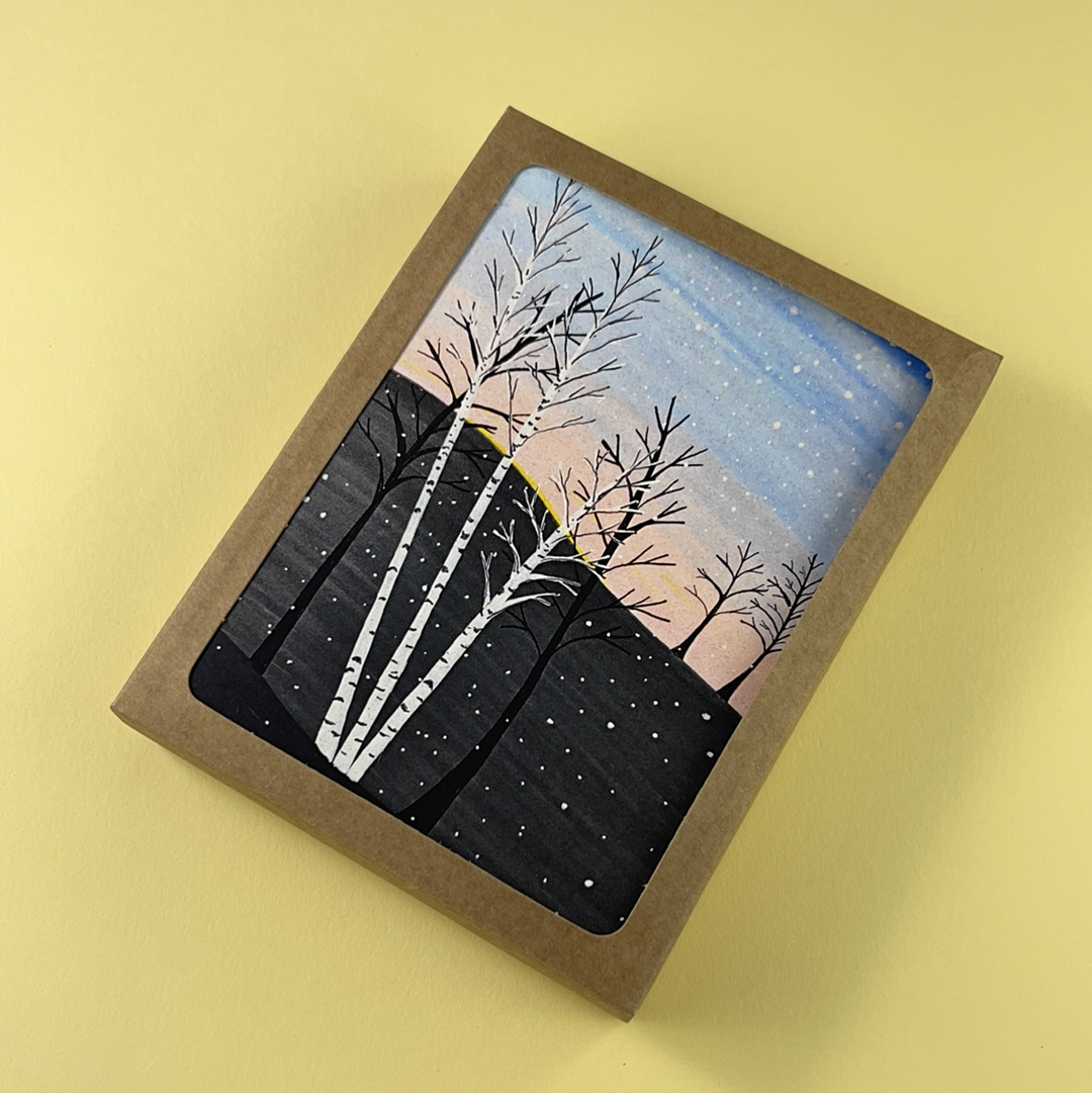 Birch Morning Light Greeting Card - Pack of 10, Artisan Goods handmade by Beth Millner Jewelry