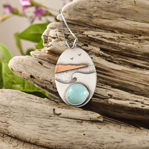 Picnic Rocks Turquoise Wonderland Pendant, Mixed Metal Pendant handmade by Beth Millner Jewelry
