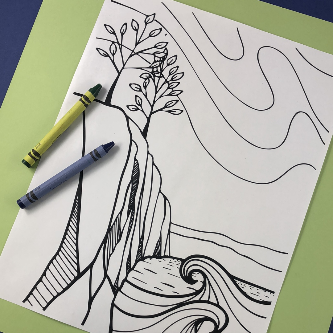 Presque Isle Coloring Page Download - Tree Planted with Purchase, Artisan Goods handmade by Beth Millner Jewelry