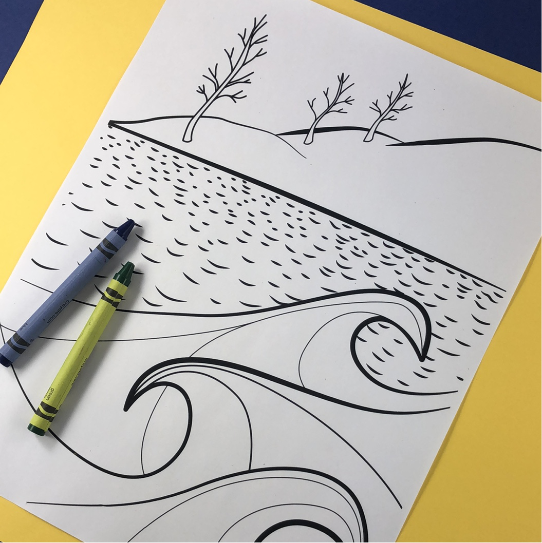 Shoreline Waves Coloring Page Download - Tree Planted with Purchase, Artisan Goods handmade by Beth Millner Jewelry