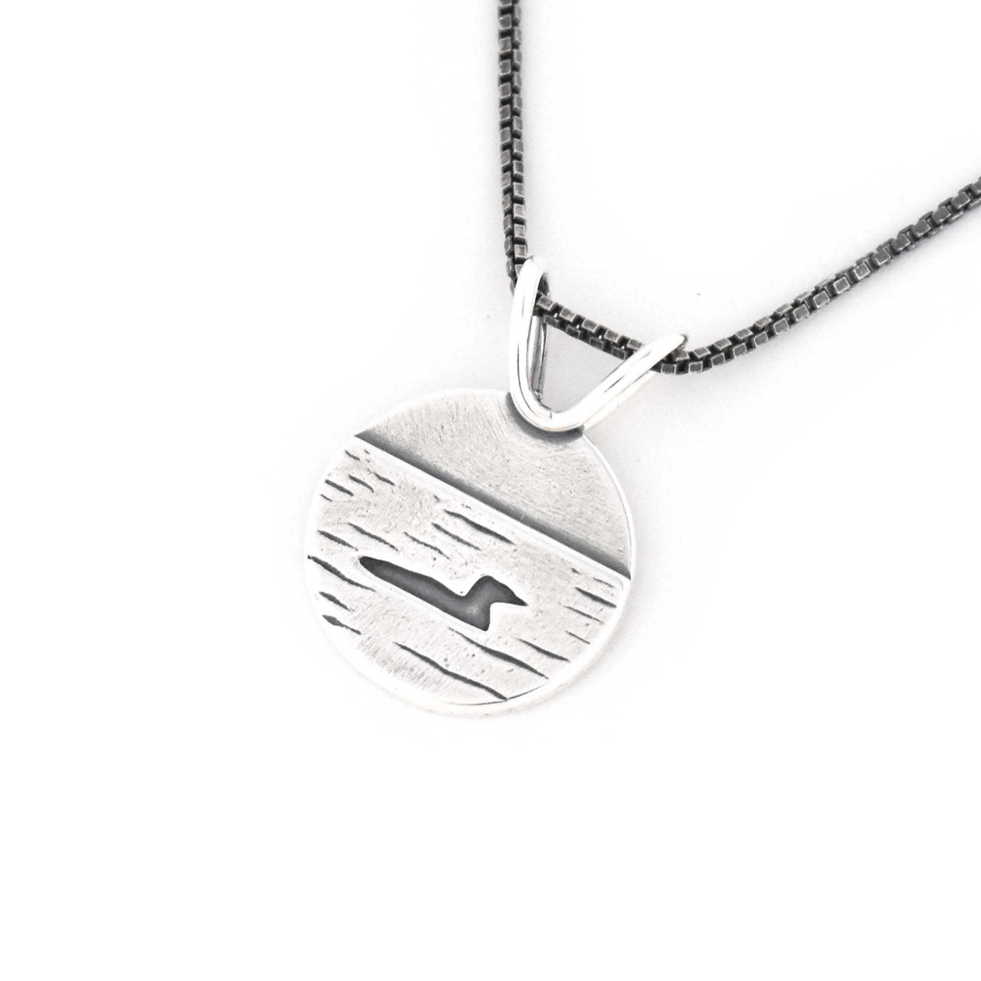 Small Loon Lake Pendant, Silver Pendant handmade by Beth Millner Jewelry