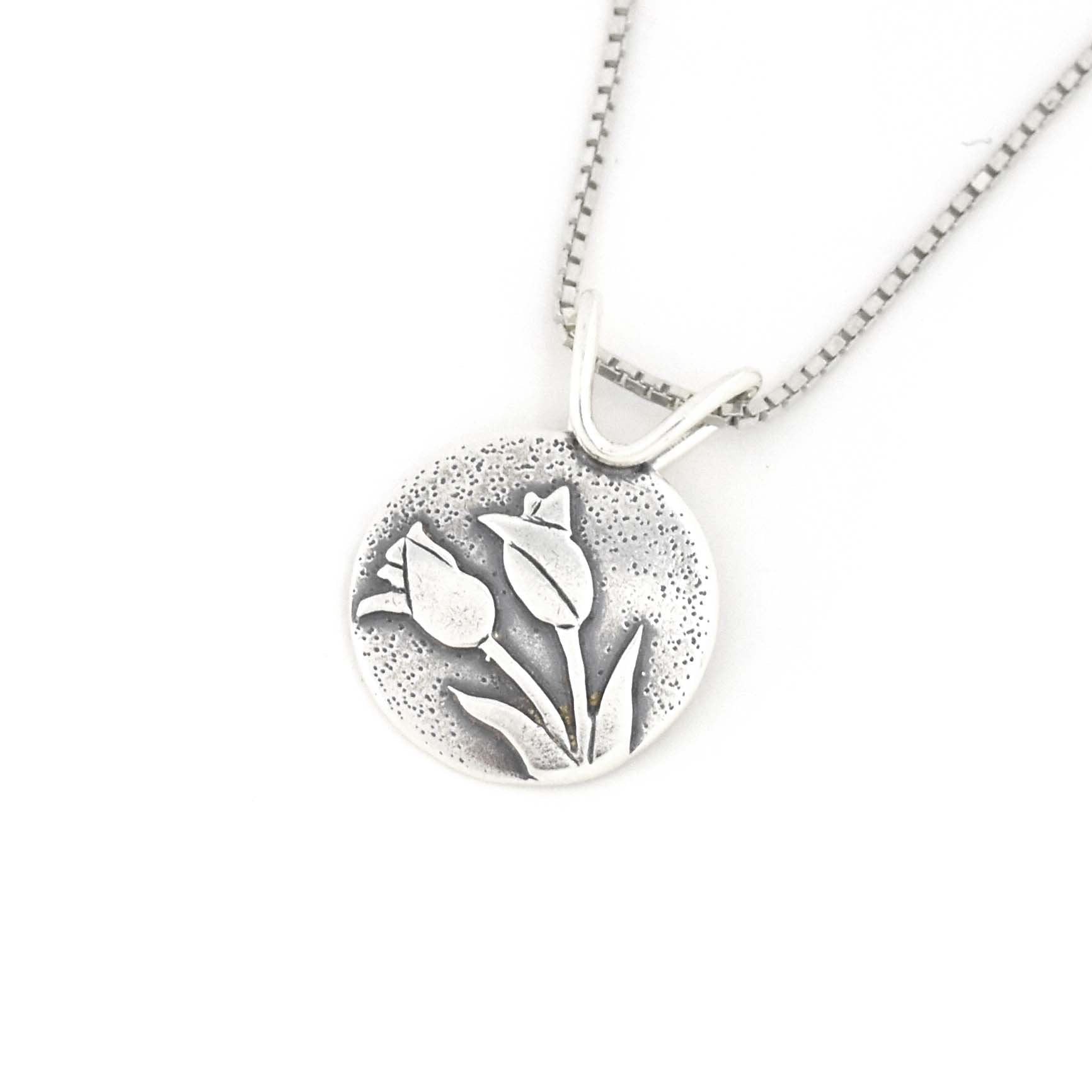 Small Tulip Bouquet Pendant, Silver Pendant handmade by Beth Millner Jewelry