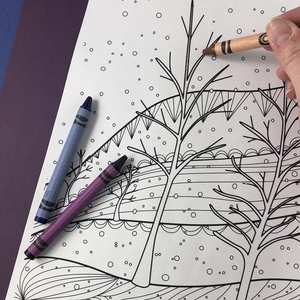 Snowy Twilight Coloring Page Download - Tree Planted with Purchase, Artisan Goods handmade by Beth Millner Jewelry