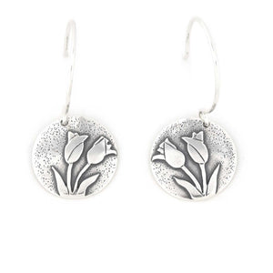 Spring Tulip Bouquet Earrings, Silver Earrings handmade by Beth Millner Jewelry