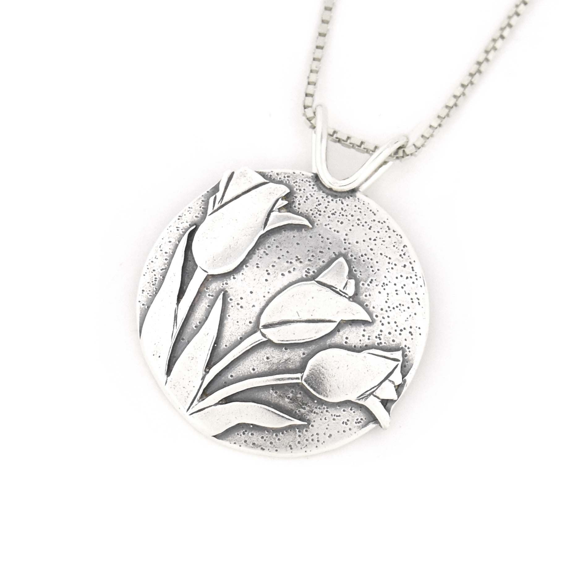 Spring Tulip Pendant, Silver Pendant handmade by Beth Millner Jewelry