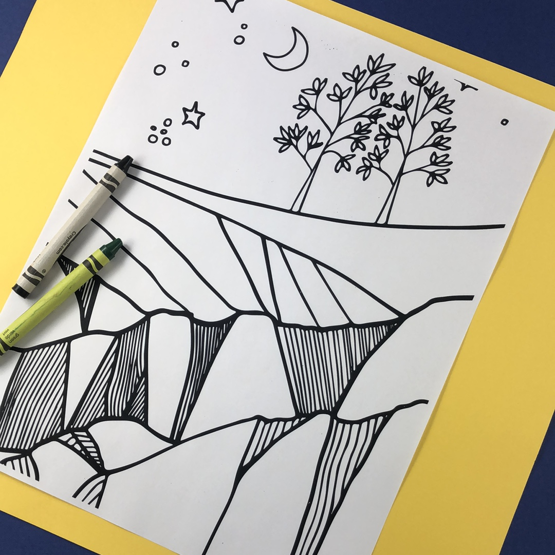 Starry Night Cliffs Coloring Page Download - Tree Planted with Purchase, Artisan Goods handmade by Beth Millner Jewelry