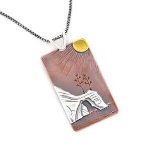 Sunset on the Pictured Rocks Pendant, Mixed Metal Pendant handmade by Beth Millner Jewelry