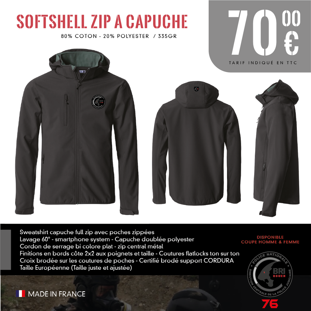 Softshell zip a Capuche