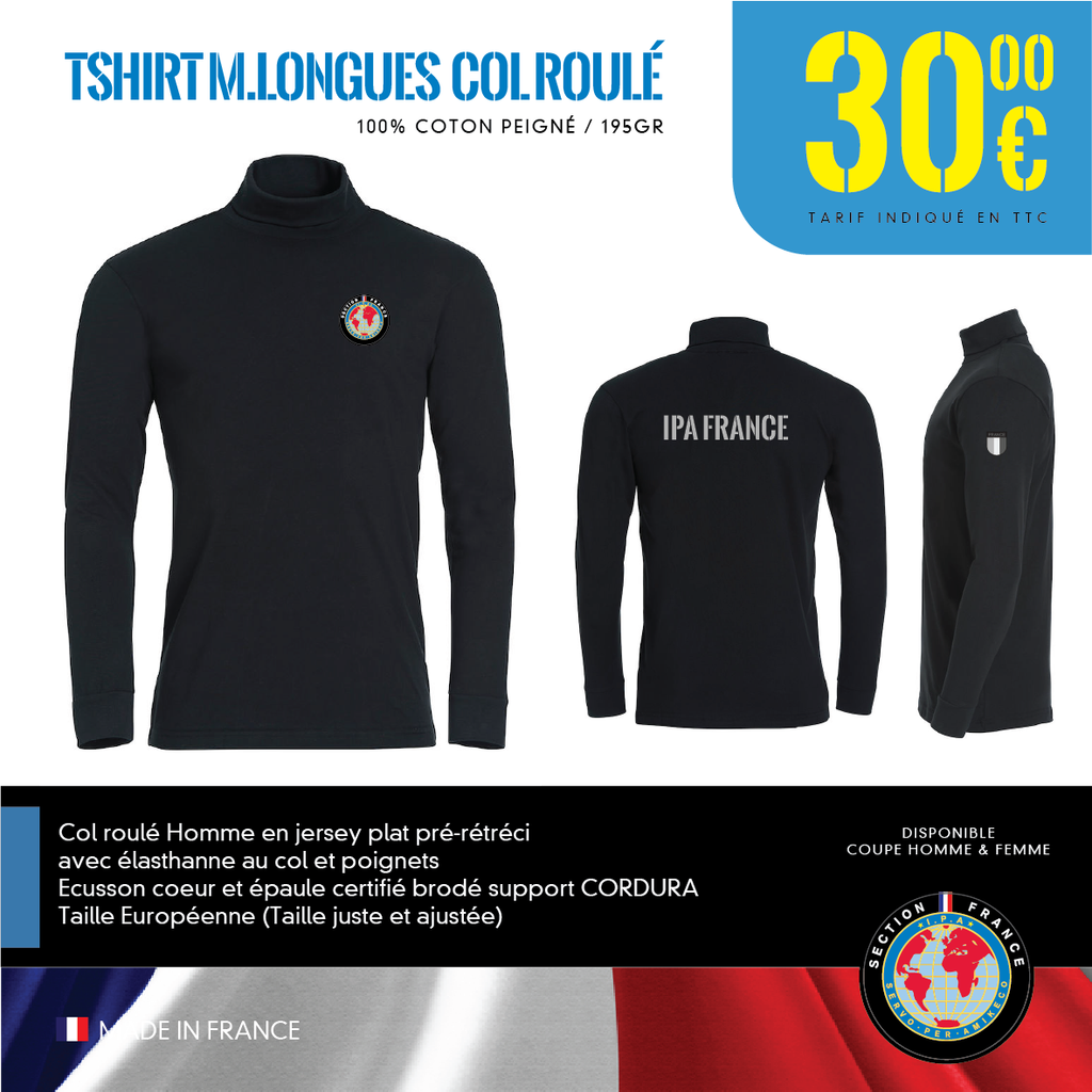 T-shirt M.Longues COL Roulé IPA FRANCE