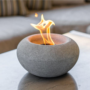 Stone Fire Bowl, Protective Cork Base Pad, Terra Flame Gel Fuel - TerraFlame