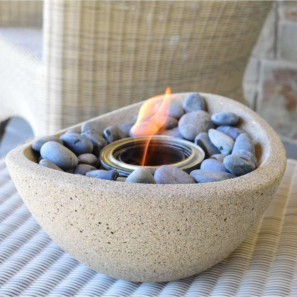 Wave Fire Bowl, Mexican Beach Pebble, Protective Cork Base Pad - TerraFlame