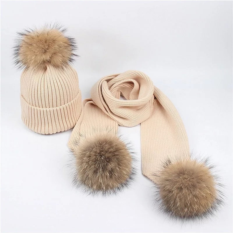 Adult Wool Beanie &  Scarf  w/ Raccoon Fur Pom