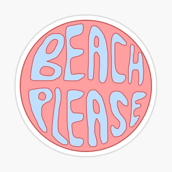 Beach Please Sticker