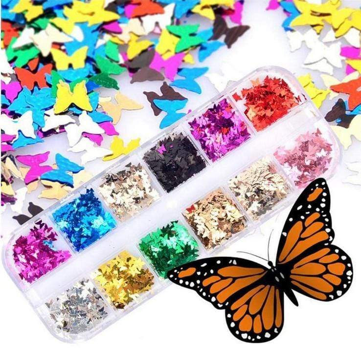 Religion Nail Supply 12 Colors Butterfly Glitter Nail Sequins