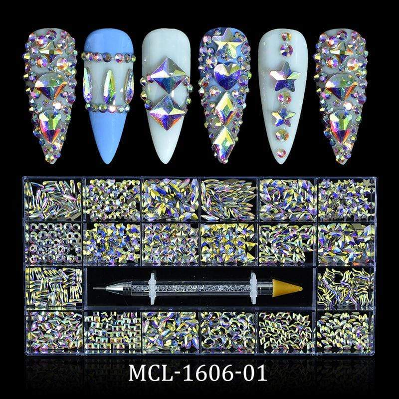 Religion Nail Supply AB Glass Crystal Rhinestones 20 Different Shapes 1000pcs - MCL-1606-01