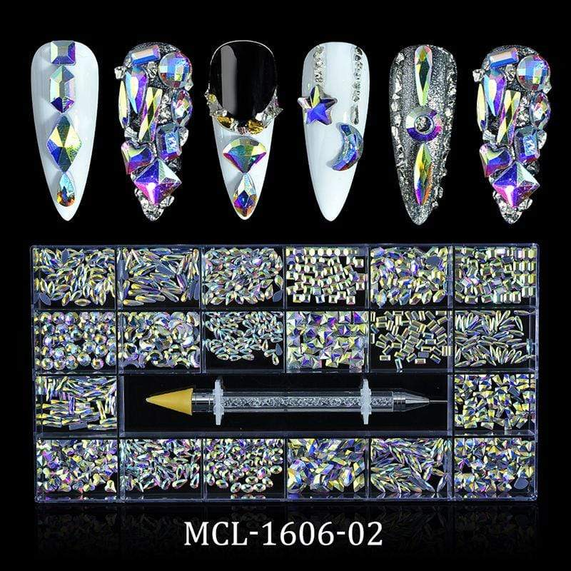 Religion Nail Supply AB Glass Crystal Rhinestones 20 Different Shapes 1000pcs - MCL-1606-02