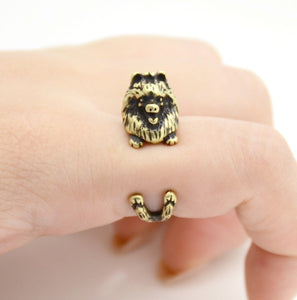 Cute wrap-around Pomeranian ring