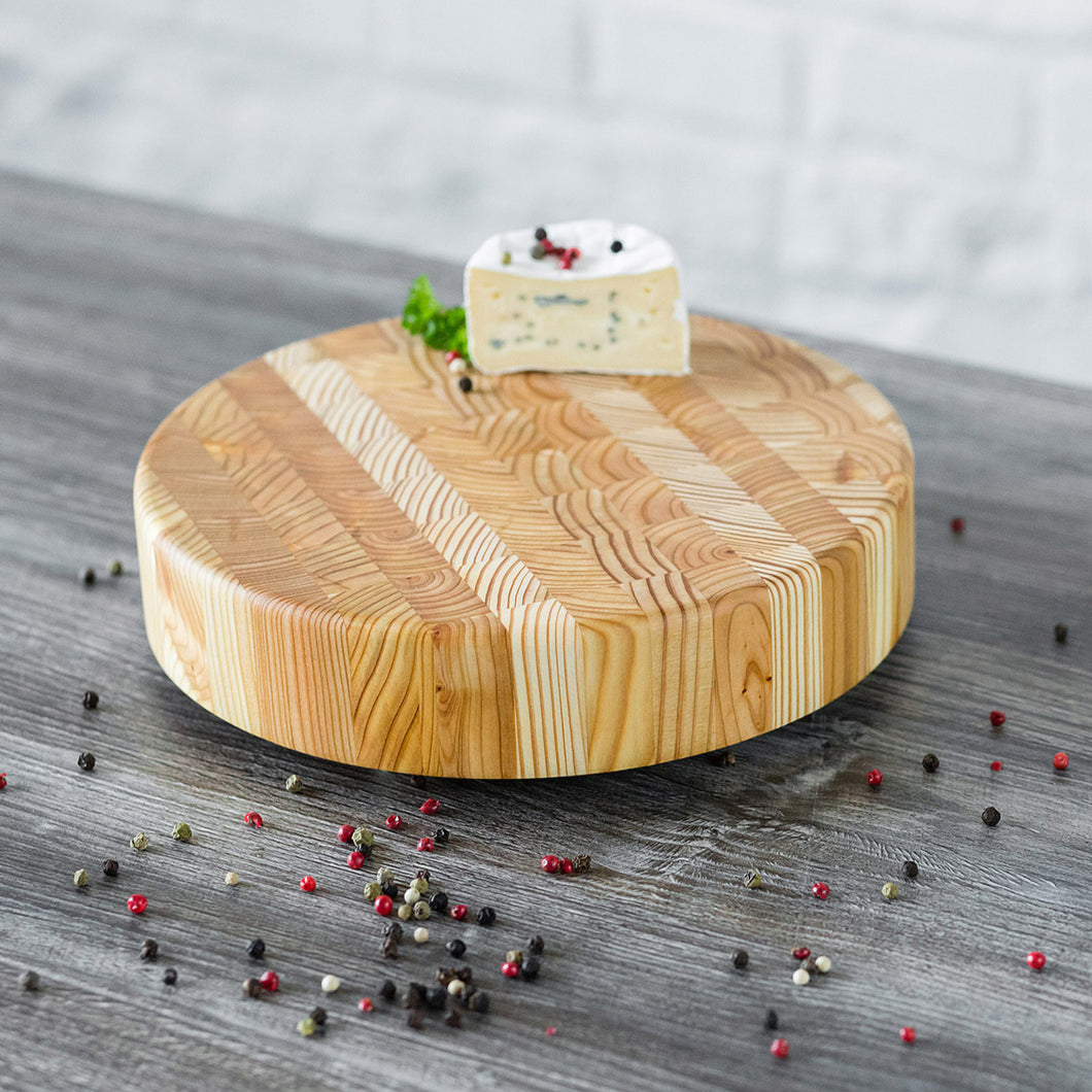 Larch End Grain - Round Cheese Board