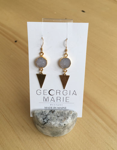 Georgia Marie Point Earring - Drouzy Quartz