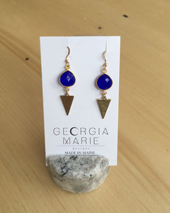 Georgia Marie Point Earring - Blue Chalcedony