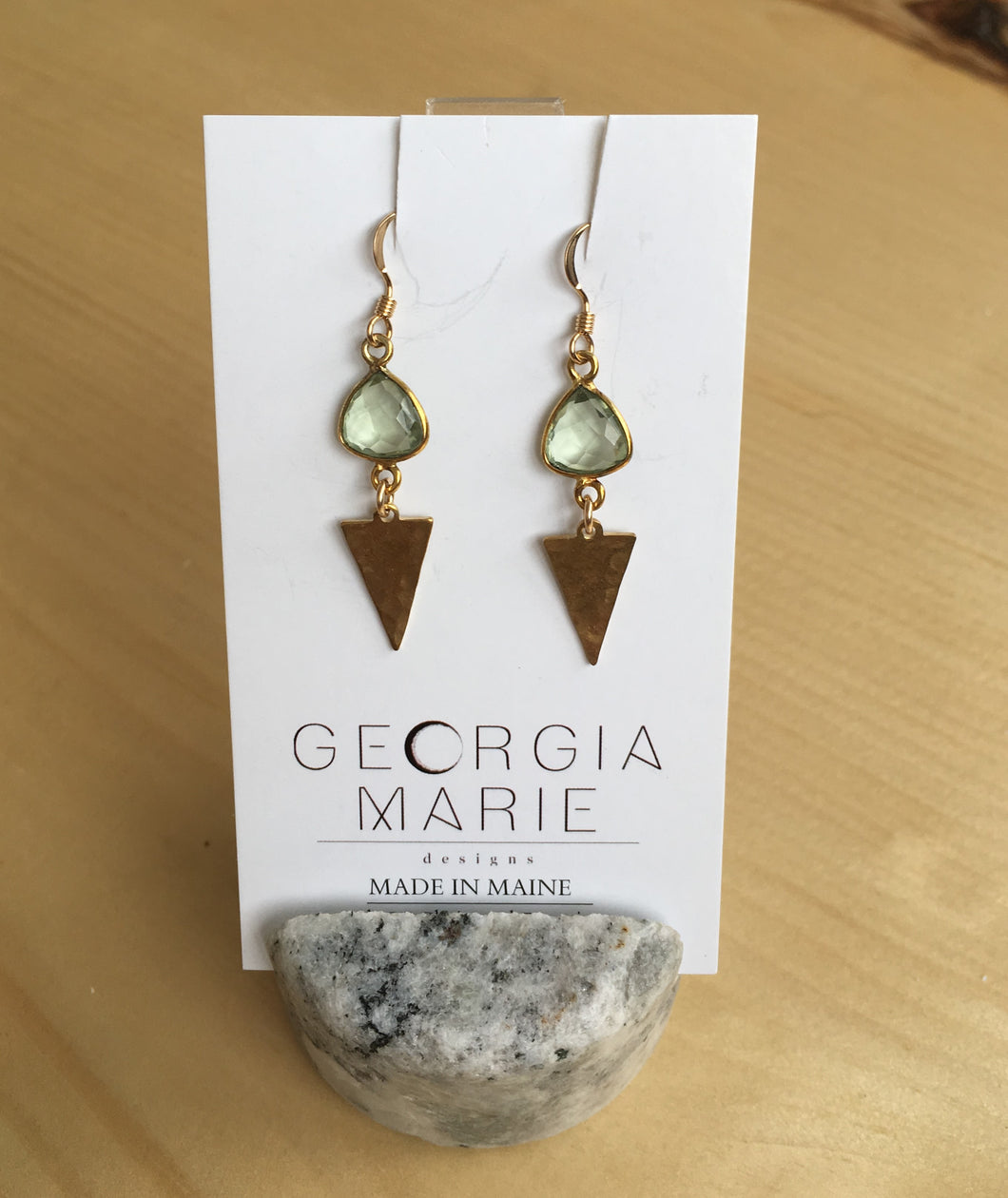 Georgia Marie Point Earring - Green Amethyst