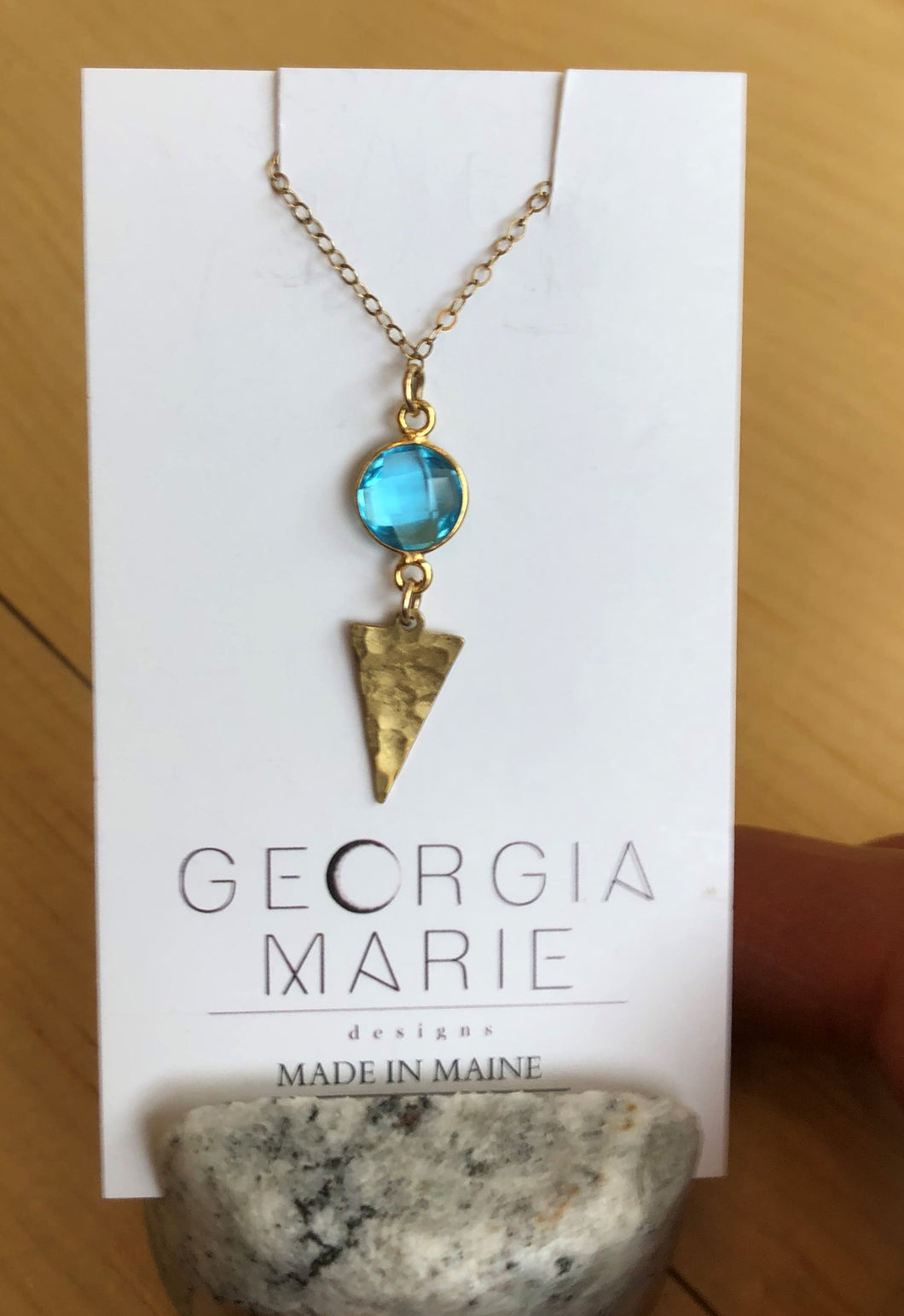 Georgia Marie Point Necklace - Blue Topaz