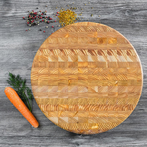 Larch End Grain - Round Cutting Board