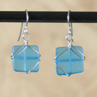 Seaglass Wrapped Earrings