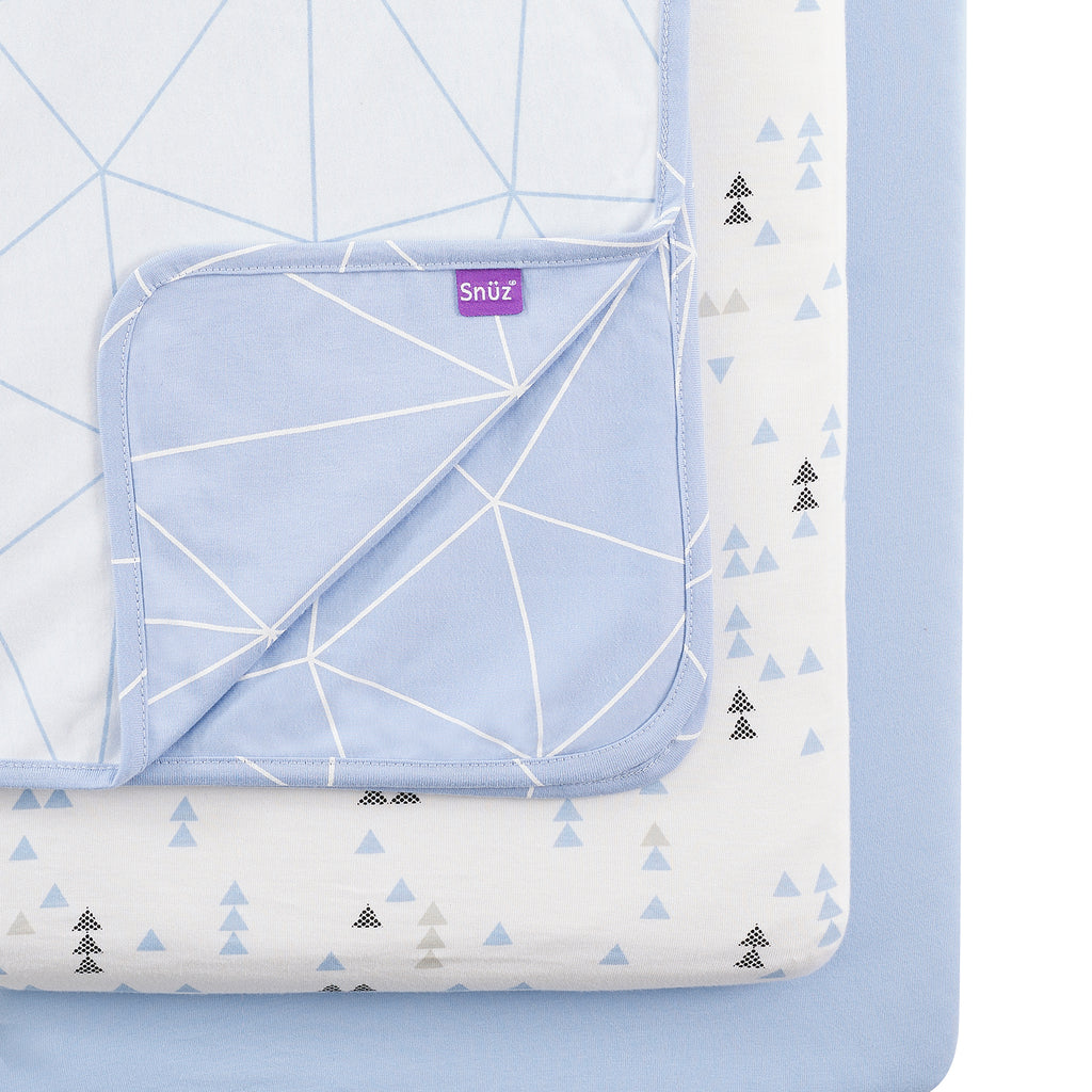 Snüz 3pc. Crib Bedding Set - Geo Breeze - Beautiful Bambino