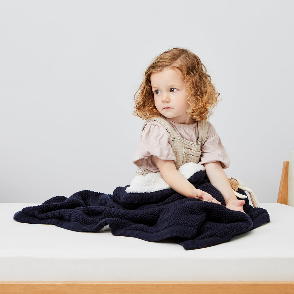 The Little Green Sheep Organic Knitted Fleece Baby Blanket - Midnight - Beautiful Bambino