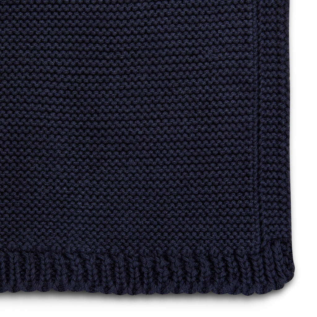 The Little Green Sheep Organic Knitted Cellular Baby Blanket - Midnight - Beautiful Bambino