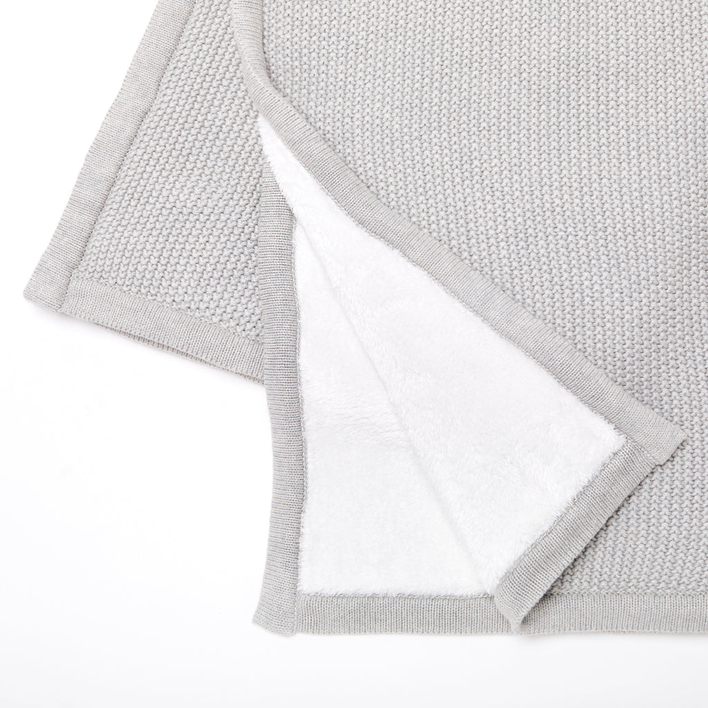 The Little Green Sheep Organic Knitted Fleece Baby Blanket - Dove - Beautiful Bambino