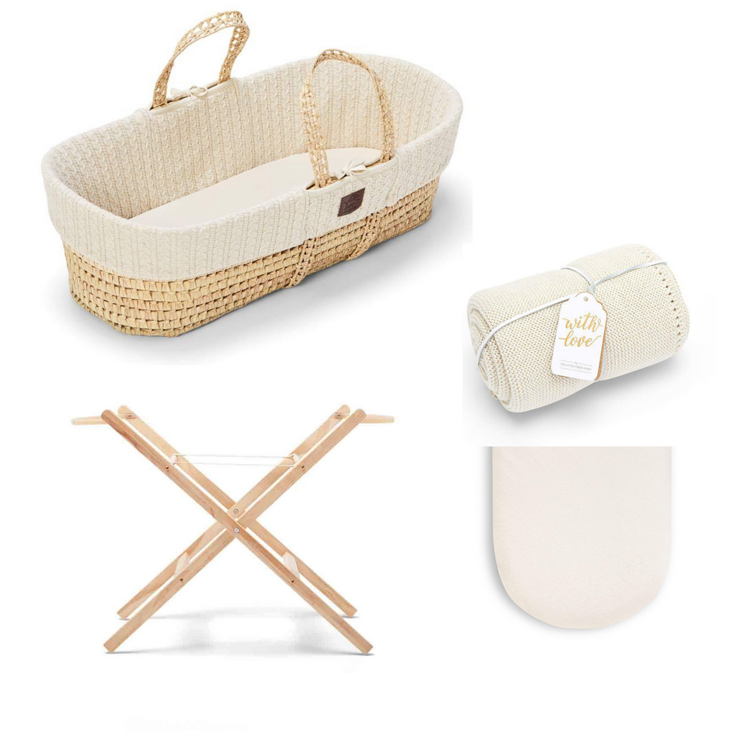 The Little Green Sheep Natural Moses Basket Bundle - Linen