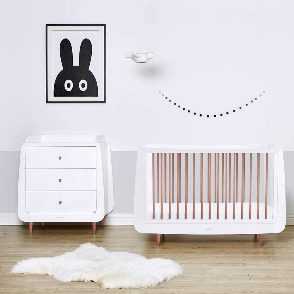 Snüzkot Metallic 2 Piece Furniture Set - Rose Gold On White - Beautiful Bambino