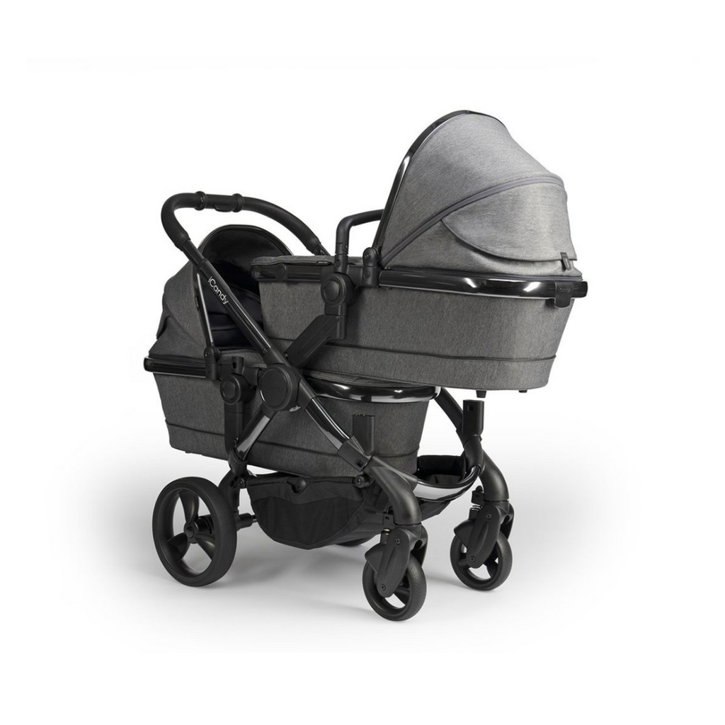 iCandy Peach Blossom Twin Pram - Phantom / Dark Grey Twill