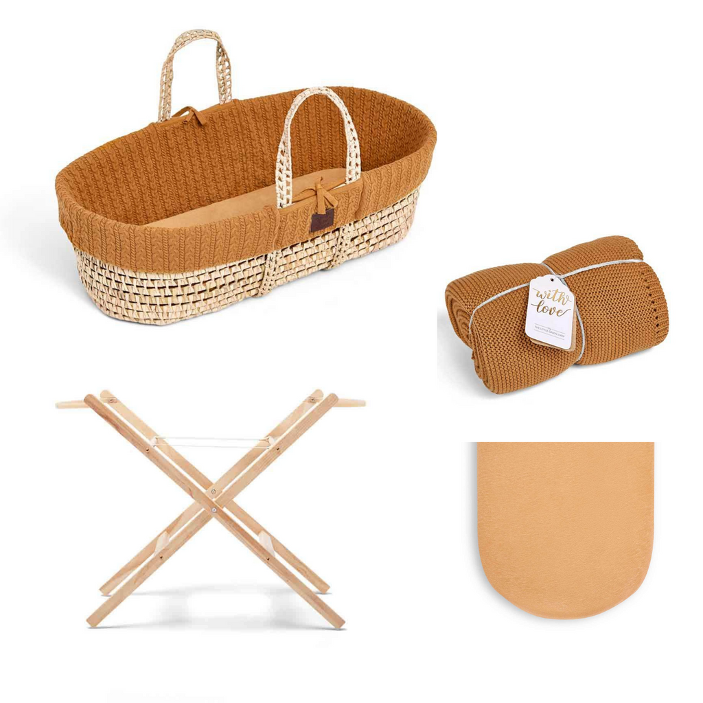 The Little Green Sheet Natural Moses Basket Bundle - Honey
