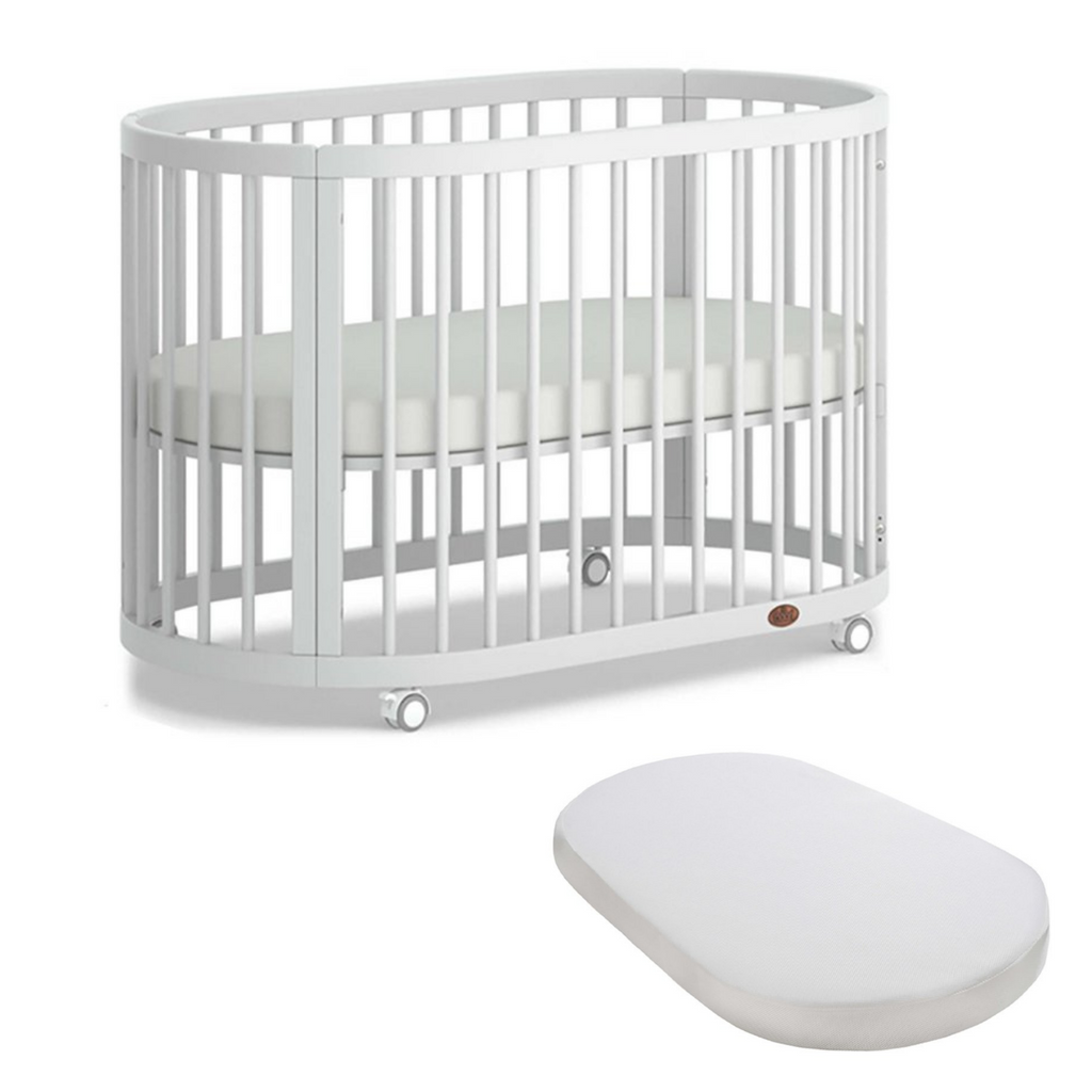 Boori Oasis Oval Cot and Mattress Bundle - Barley White