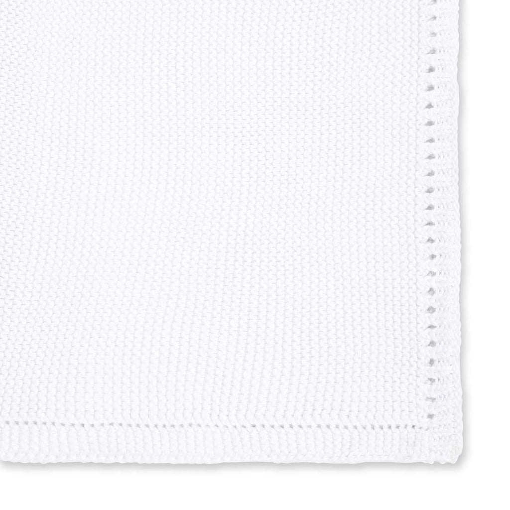 Little Green Sheep Organic Knitted Cellular Baby Blanket - White - Beautiful Bambino