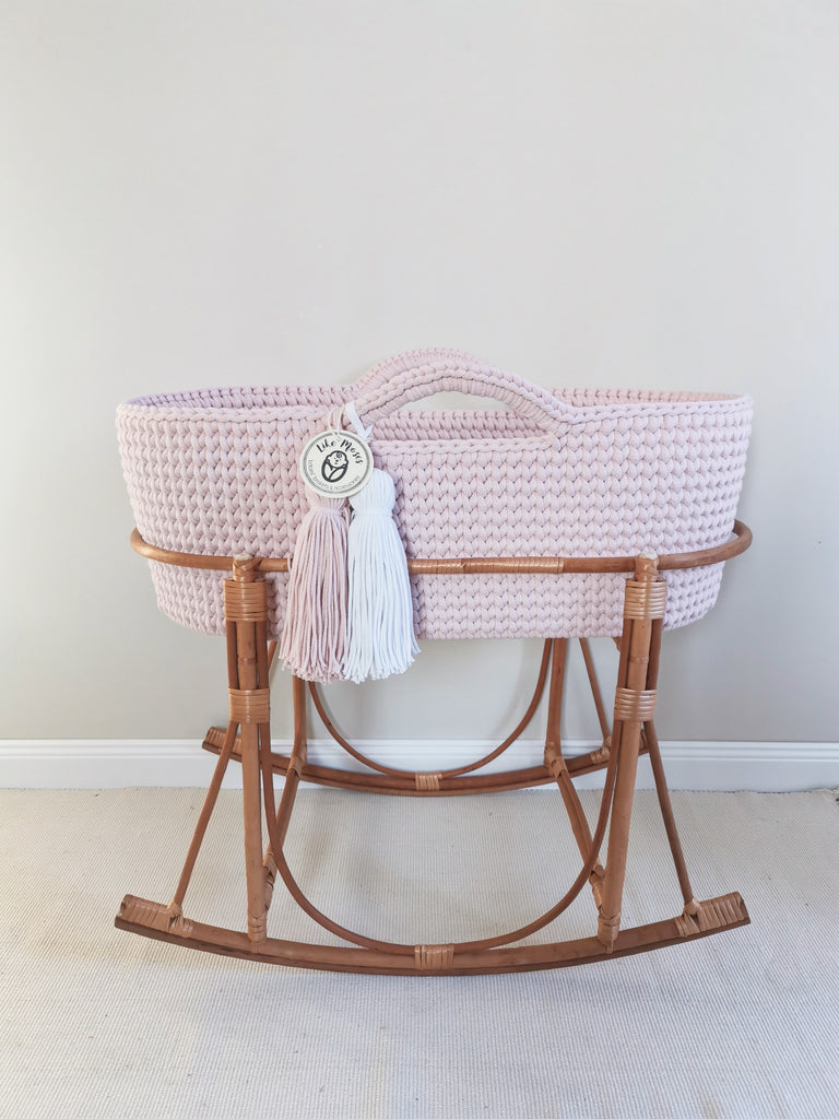Crochet Moses Basket - Baby Pink - Beautiful Bambino