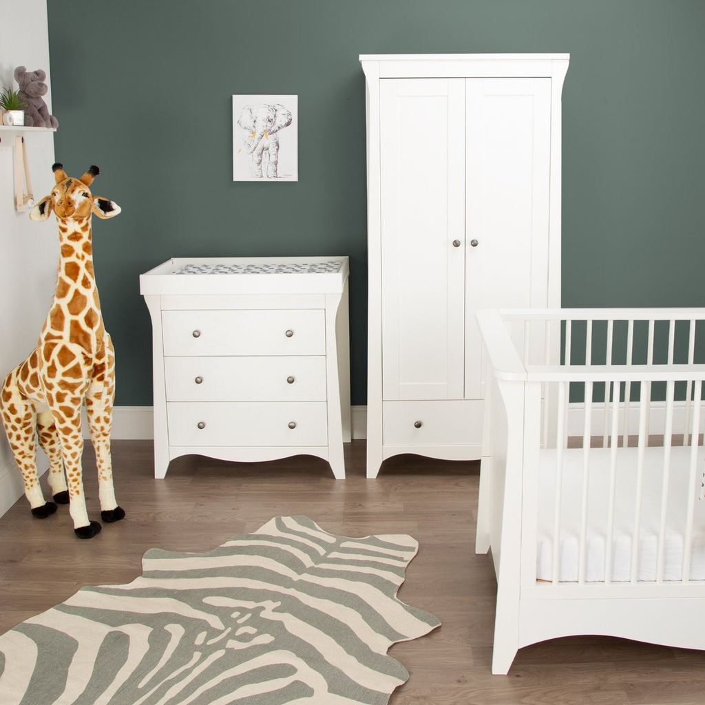 CuddleCo Clara 3 Piece Nursery Room Set - White