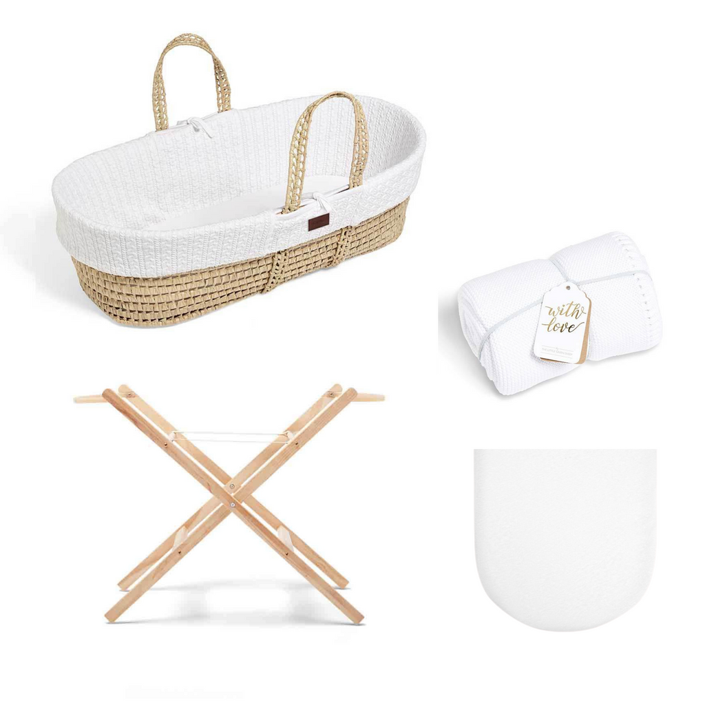 The Little Green Sheet Natural Moses Basket Bundle - White