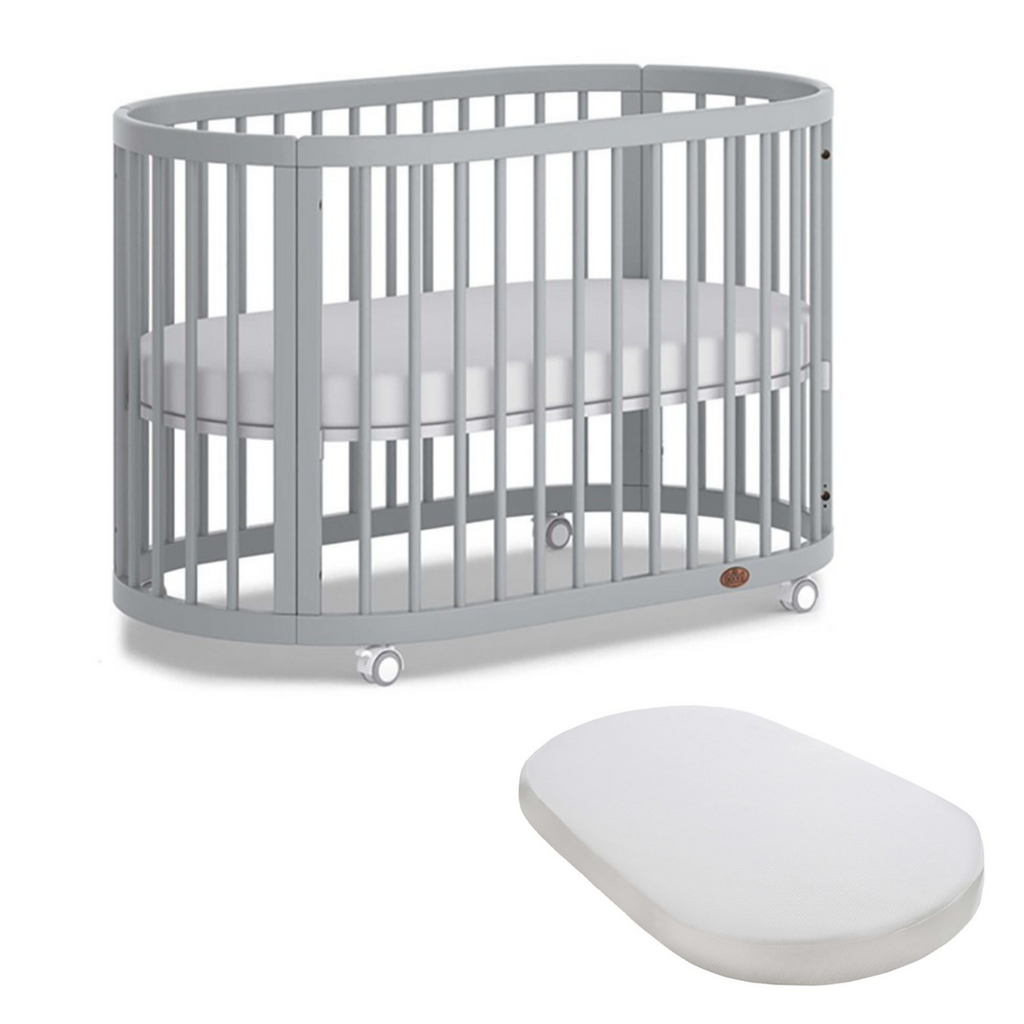 Boori Oasis Oval Cot and Mattress Bundle - Pebble