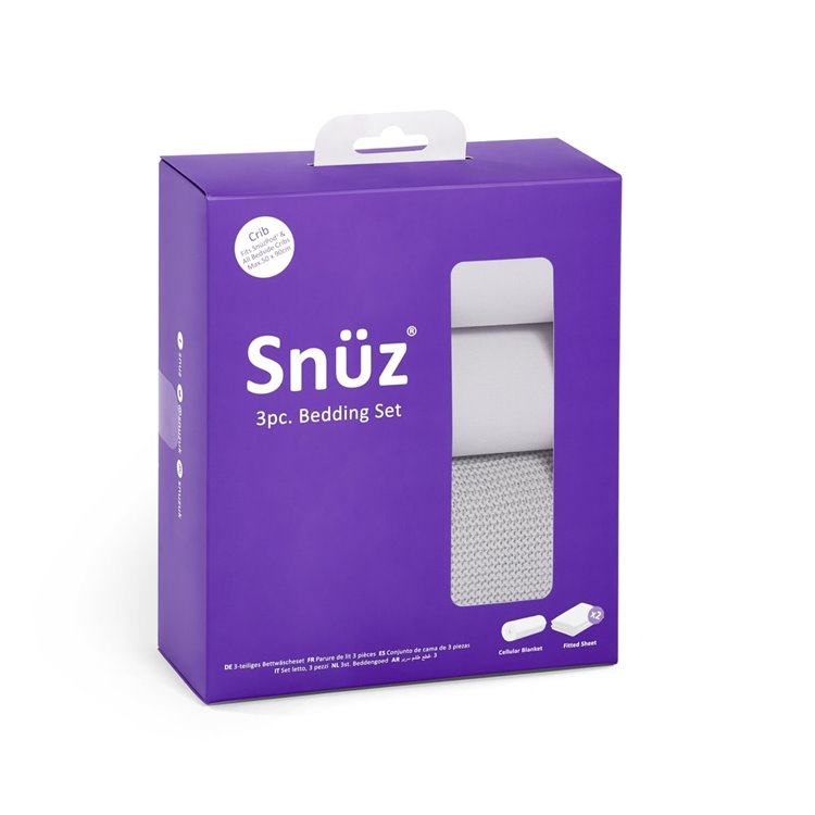 Snuz 3pc Crib Bedding Set - Grey - Beautiful Bambino
