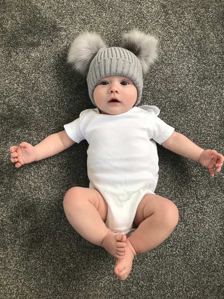 Grey Double Pom Pom Knitted Hat - Beautiful Bambino