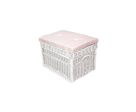 Caramella Wicker Trunk Quilted Baby Pink Pillow - Beautiful Bambino