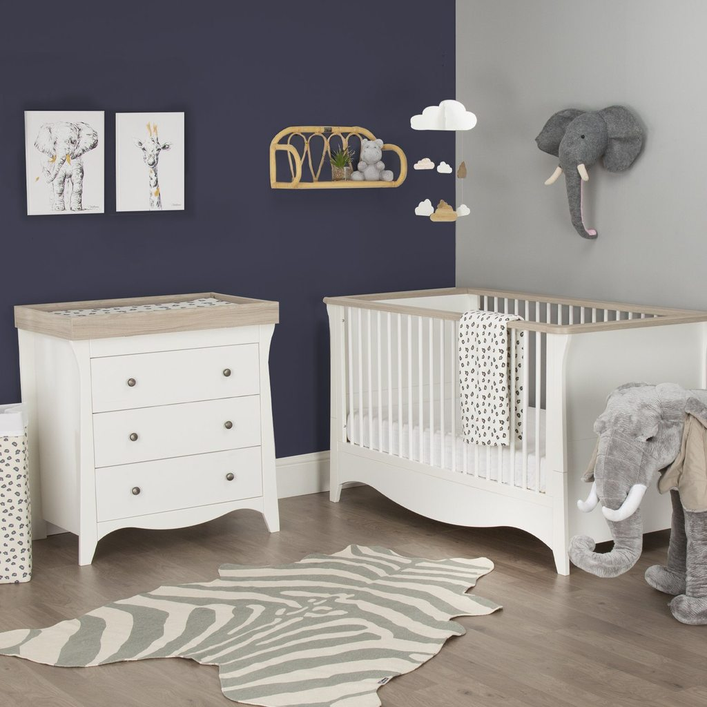 CuddleCo Clara 2 Piece Nursery Room Set - White/Driftwood Ash