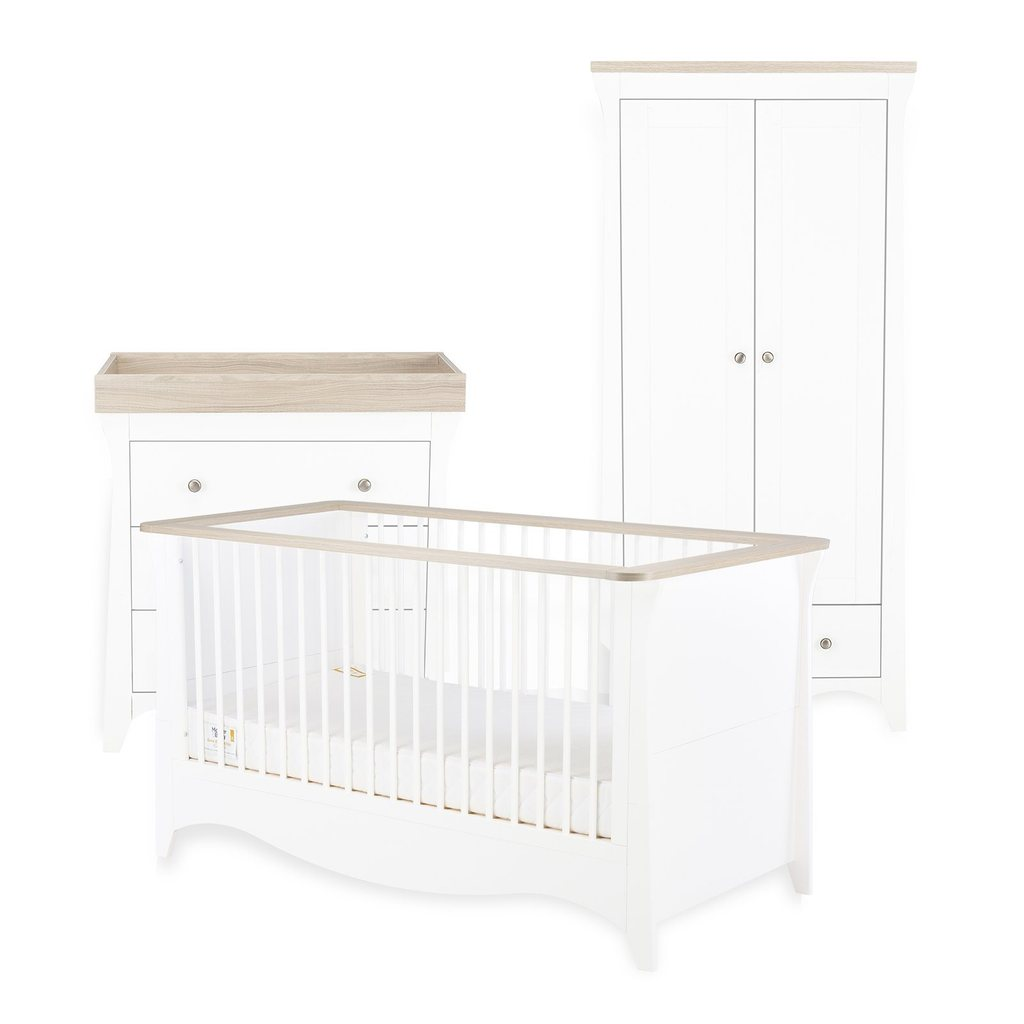 CuddleCo Clara 3 Piece Nursery Room Set - White/Driftwood Ash